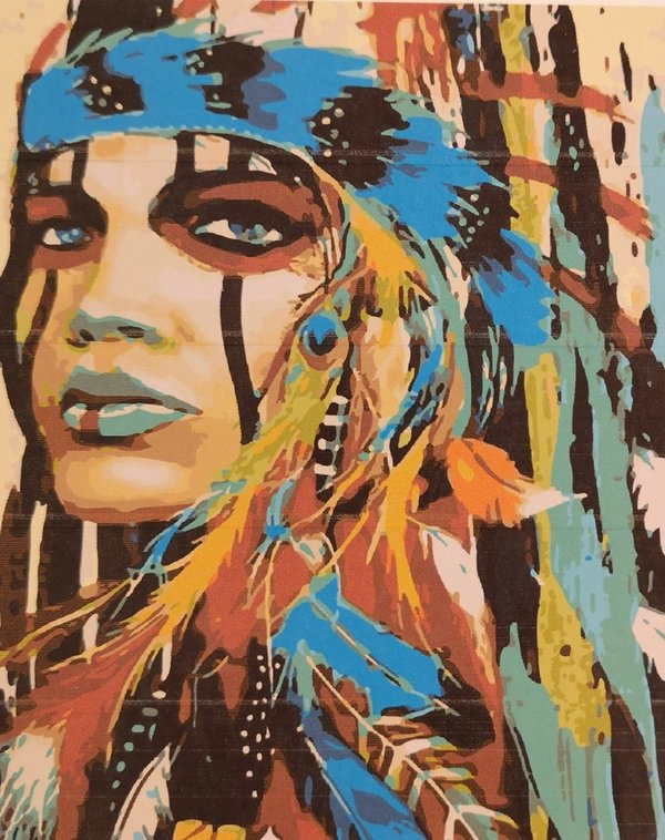 Native American woman with feather headdress