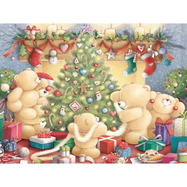 Bears around the Christmas tree